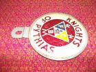 Older License Plate Topper Reflector Knights of Pythias FCB Fraternal Masonic