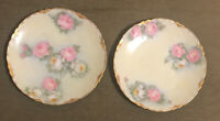 """2 Antique 7"""" Hutschenreuther Selb Bavarian Porcelain Hand Painted Gilded Plates"""