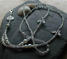 """Celtic Angel"" Handmade Glass Beads Angel Wings Heart ID Lanyard Badge Holder"