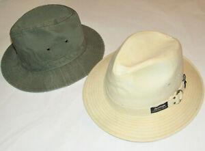 2 MEN'S CANVAS FEDORA HATS! ORIGINAL PANAMA JACK& HOPKINS 5th AVE! MADE IN USA M