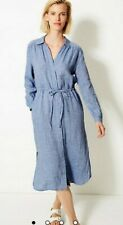 M&S SIZE 18 PURE LINEN STRIPED SHIRT MIDI DRESS BLUE NEW MARKS AND SPENCER