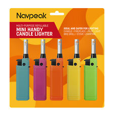 Mini Candle Lighter for Kitchen Campfire BBQ cigarette Refillable 5 pack