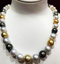 """18"""" 11-12mm south sea white gold multicolor round pearl necklace"""