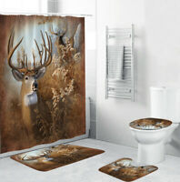 Deer Bathroom Rug Set Shower Curtain Thick Bath Mat Non-Slip Toilet Lid Cover