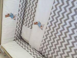 Peter Rabbit Nursery Package Cot set nappy stacker Fleece Blanket chevron