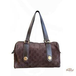 Authentic GUCCI Guccissima Charmy Dark Brown Suede Leather Shoulder Bag 152457
