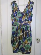 BCBG Max Azria Womens Dress Size 8 Floral Drape Pleated Shoulder 100% Silk EUC