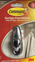 3M Command Medium Chrome Metal Hook FC12-BC Forever Classic Hanging Strips BN-ES