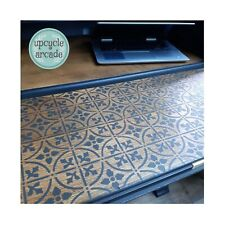 A4 STENCIL VICTORIAN TILES Fabric Furniture Vintage ❤ REPEATABLE 190 MYLAR 003