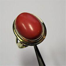 635 - Klassischer Ring - Gelbgold 750 - 7 Gramm - Koralle - 2215