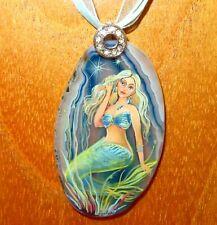 Pendant MERMAID Girl Genuine Natural BLUE Stone hand painted Gorbachova signed