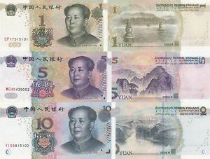 China 3 Note Set: 1, 5 and 10 Yuan (1999/2005) - p895, p903 and p904 UNC
