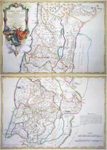 1763 - Pair of Original Antique Maps of ISRAEL PALESTINE & HOLY LAND GAZA SIDON