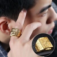 Men Wide Eagle Pattern 18K Gold Plated Copper Finger Ring Jewelry Gift for Boys