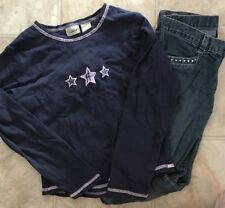 Girls LL Bean The Children's Place Outfit Size 8 Boot Leg Jeans Pant Stars Top