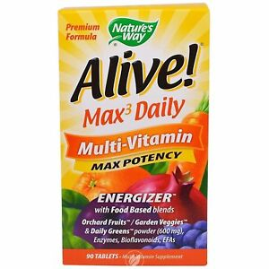 Nature's Way Alive! Max3 Daily Max Potency Adult Multivitamin with Iron 90 tabs