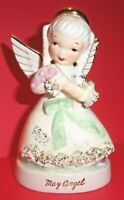 "Vtg 4.5"" NAPCO May Angel A1365 Green Bow Flowers Gold Spaghetti Trim Figurine"