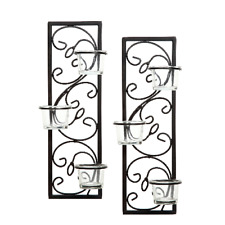 Set of 2 Handmade Black Iron Wall Sconce Candle Holder Home / Garden Decor NEW
