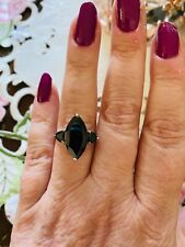 Size 9-8.06ct Thai Black Spinel Ring in Platinum Over Sterling Silver