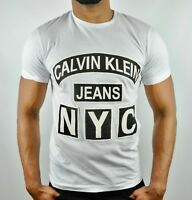 CALVIN KLEIN JEANS NYC Logo Slim T-Shirt in White