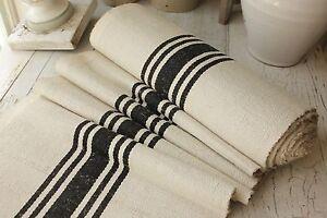 Vintage BLACK homespun fabric striped cotton linen bolt upholstery weight 1 yds