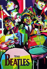 "BEATLES ""COLORFUL ART COLLAGE OF BAND PLAYING"" POSTER FROM ASIA - Classic Rock"