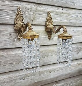Pretty French Wall Lights / Down Lights - Strings of Crystals -2 Pairs Available