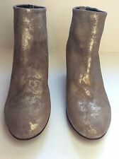 ~NWOB~$329~SESTO MEUCCI~WOMEN'S SUEDE WEDGE ANKLE BOOTS ~SOFT METALLIC GOLD~5.5