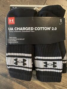 NEW - Under Armour UA Charged Cotton 2.0 Crew Sock 6pk. Black, YOUTH 4Y-8Y