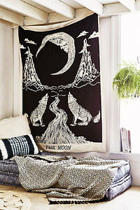 100% Art Hippie The Moon Home Decor Mandala Tapestry Indian Crying wolf and Wall