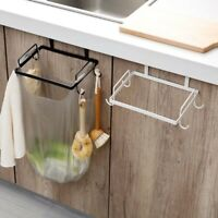 Kitchen Over Cabinet Metal Garbage Trash Bag Holder Storage Rack Hanger Hook