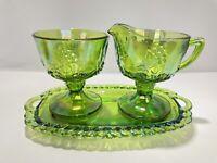Iridescent Green Harvest Grape Creamer Sugar Bowl w/ Tray Carnival Glass Indiana
