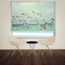 Printed Picture Photo Roller Blind Seagulls on the Beach Blackout Window Blind