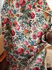 """New listing """"Canterbury"""" by Barret 100% Heavy Hand Print Linen Floral Fabric Red Pink Green"""