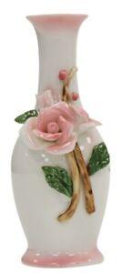 14cm Ceramic Bud Vase White & Pink 3D Flower Design Thin Bottle Neck Ornament