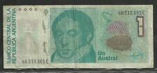 ARGENTINA 1(UN) AUSTRAL NOTE PAPIERGELD PAPER MONEY CURRENCY BANKNOTE USED !!!