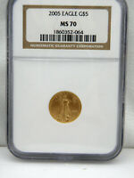 2005 1/10 oz $5 American Gold Eagle MS70 by NGC