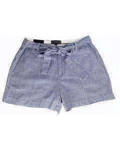 "Banana Republic Womens Shorts Blue White Gingham 4"" Linen Cotton Tie Belt 6 NWT"