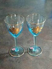 Vintage Blue Topaz Romainia Gold Trim Cordial Sherry Crystal Glass Set Of 2