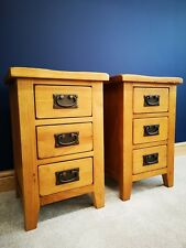 Matching Pair Rustic Oak Narrow Bedside Tables Small Slim Solid Bedroom Cabinets