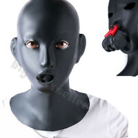Female Natural Latex Hood Eyes open with Mouth Gag Nose tube For Women