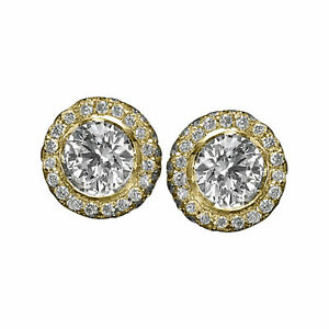 3.20 CT F/VS1 Natural Round Cut Diamond Stud Earrings 14K Yellow Gold