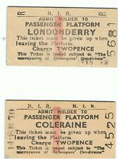 Railway Tickets Ireland, 2 No N I R COLERAINE & LONDONDERRY Platform Tickets