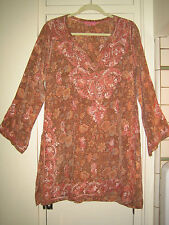 Pink-Tan Floral Embroidered Tunic. Med/40  NWOT