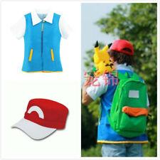 Anime Pokemon Ash Ketchum Trainer Costume Coat Jacket Cosplay