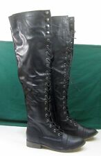 """NEW Black Lace Up Front Round Toe 1""""BLOCK Heel Over Knee Sexy Boot WOMEN Size 9"""