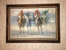 Vintage Large Signed Abstract Horse Racing Oil On Canvas Painting