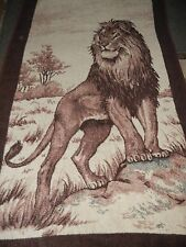 VTG.LION.JUNGLE.SAN MARCOS.REVERSIBLE.BLANKET.COMFORTER.BEDSPREAD.50x86 inches.