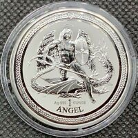 2016 REVERSE PROOF Isle of Man SILVER ANGEL • 1 oz Coin/Round BU New In Capsule!