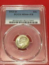 1953 D Roosevelt Dime PCGS MS 66+ FB Original Mint Set Toned
